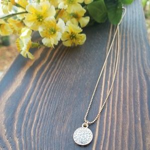 Jewelry - Gold Micropave Solid Circle Necklace